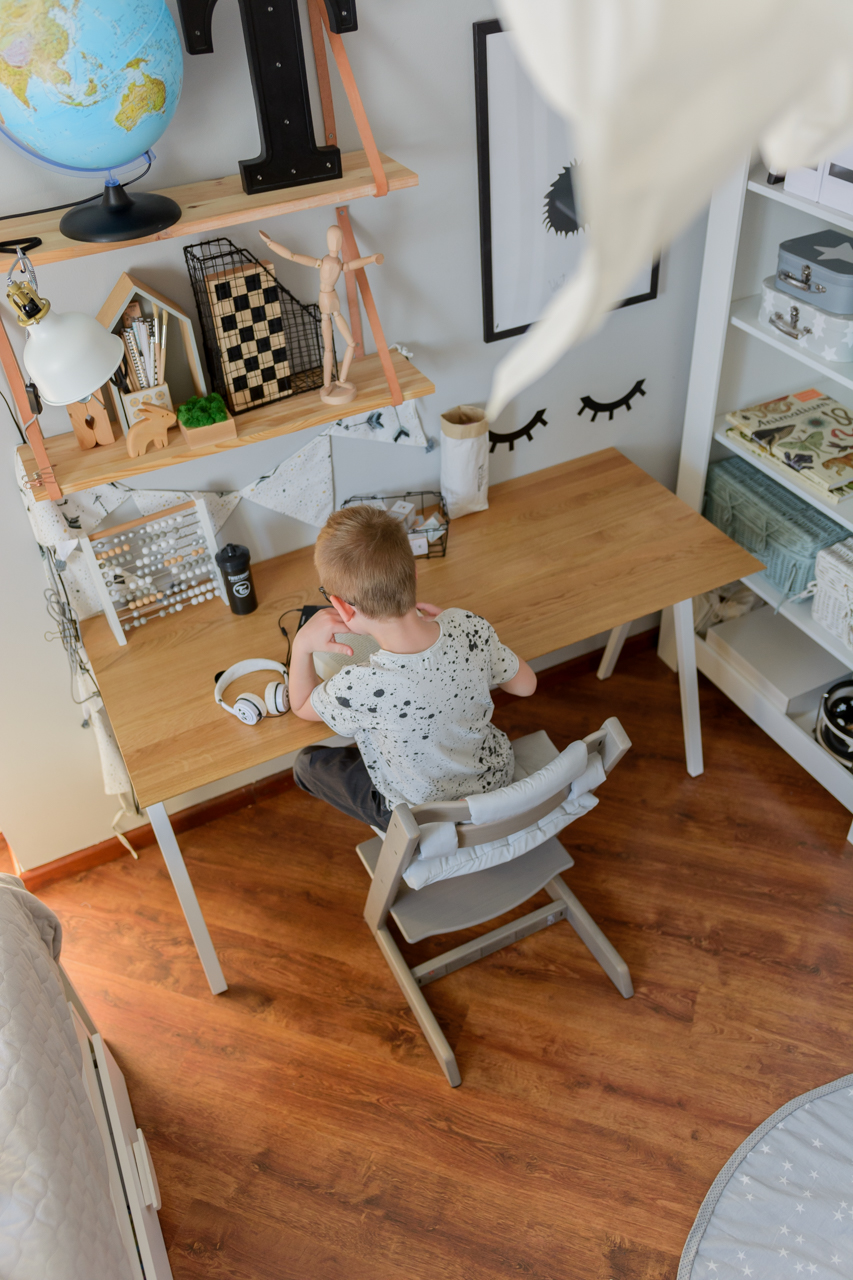 pokój ucznia, postawa dziecka przy biurku