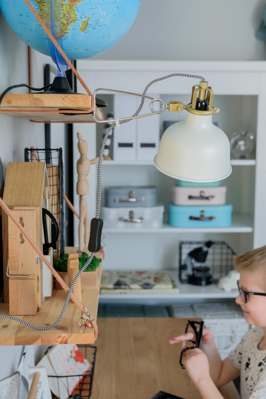 lampka do biurka, postawa dziecka przy biurku